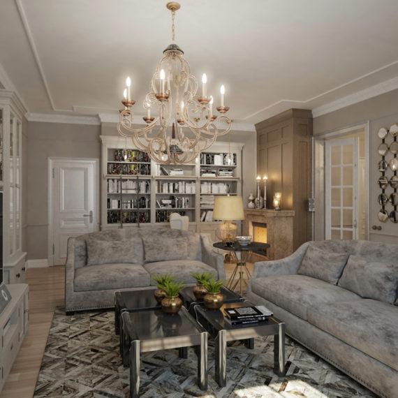 Дизайн интерьера гостиной с элементами АРТ ДЕКО