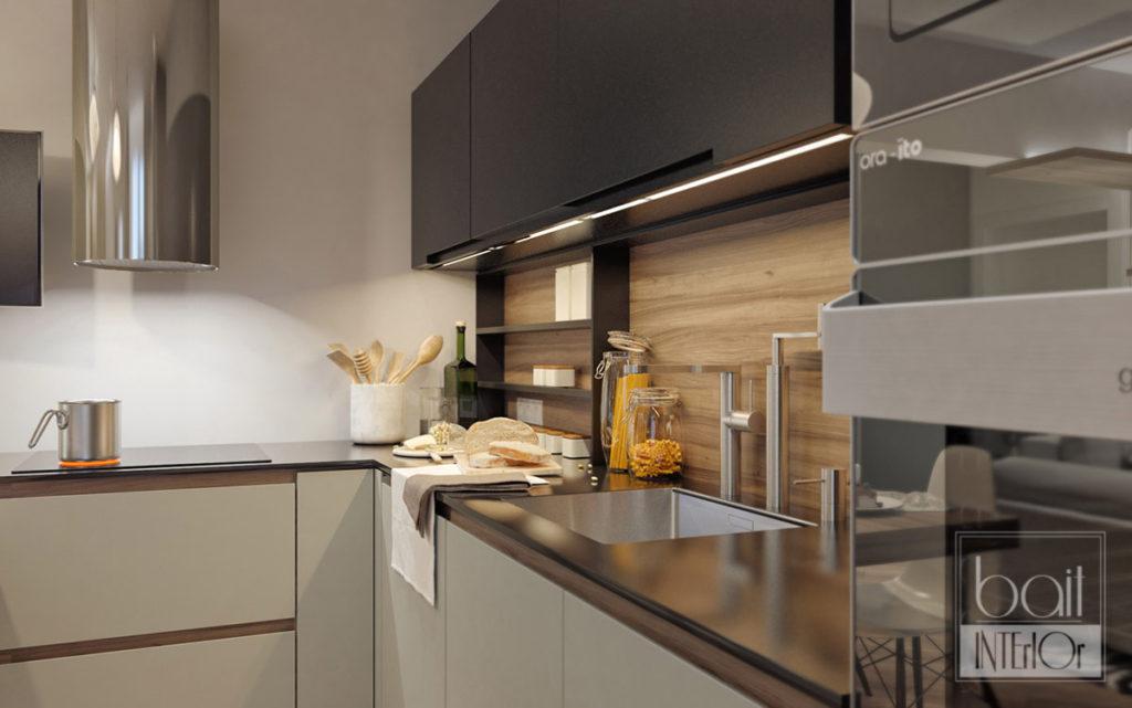 дизайн черной кухни в стиле минимализм