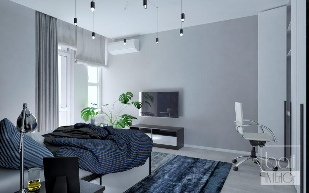 дизайн интерьера гостиной - спальни для парня