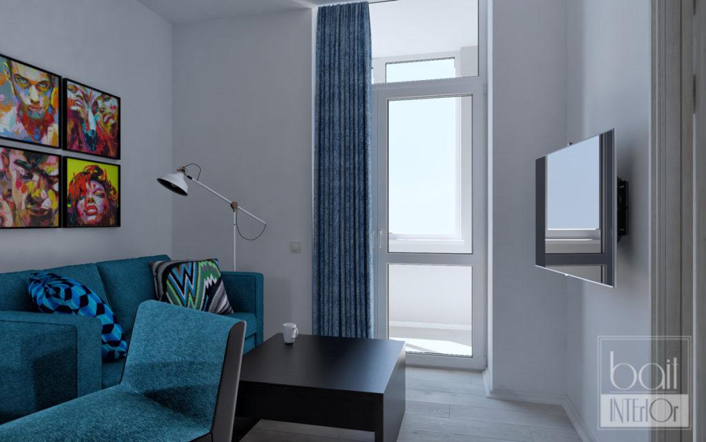 дизайн интерьера кухни с синим диваном, минимализм