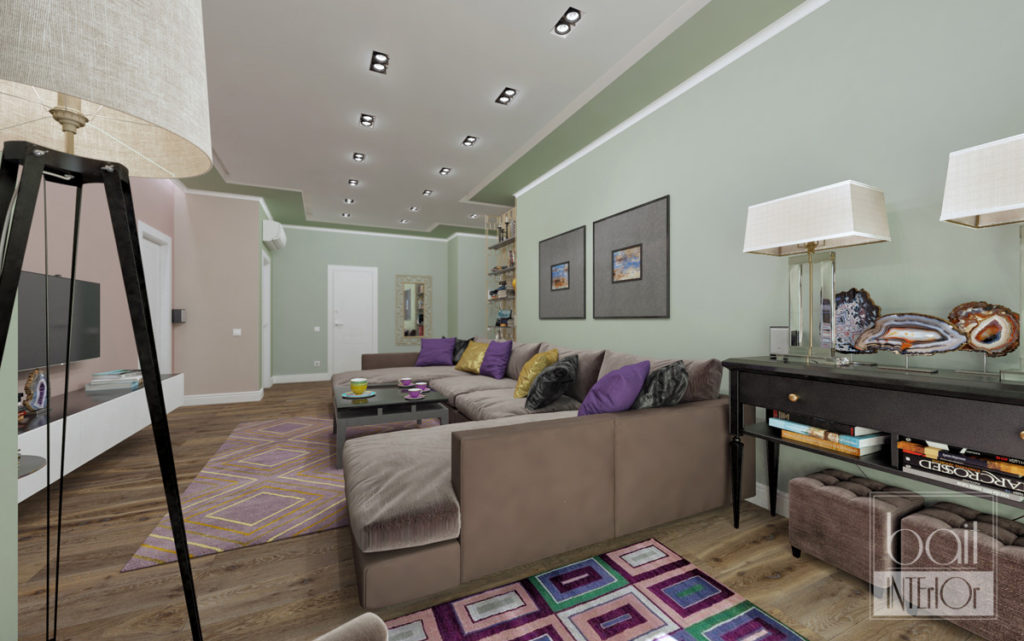дизайн интерьера зеленой гостиной