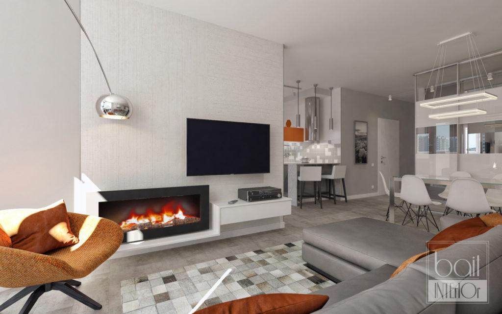 дизайн интерьера гостиной в стиле минимализм с оранжевыми акцентами
