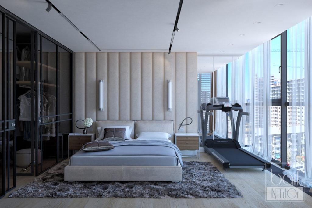 дизайн интерьера спальни с панорамными окнами