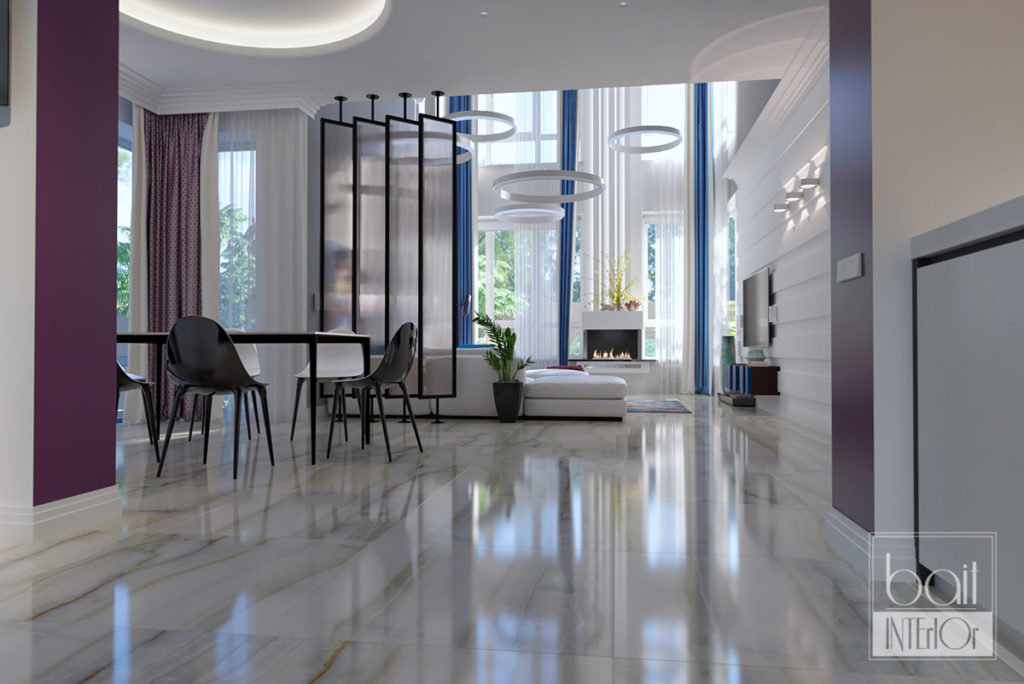дизайн проект интерьера гостиной со вторым светом
