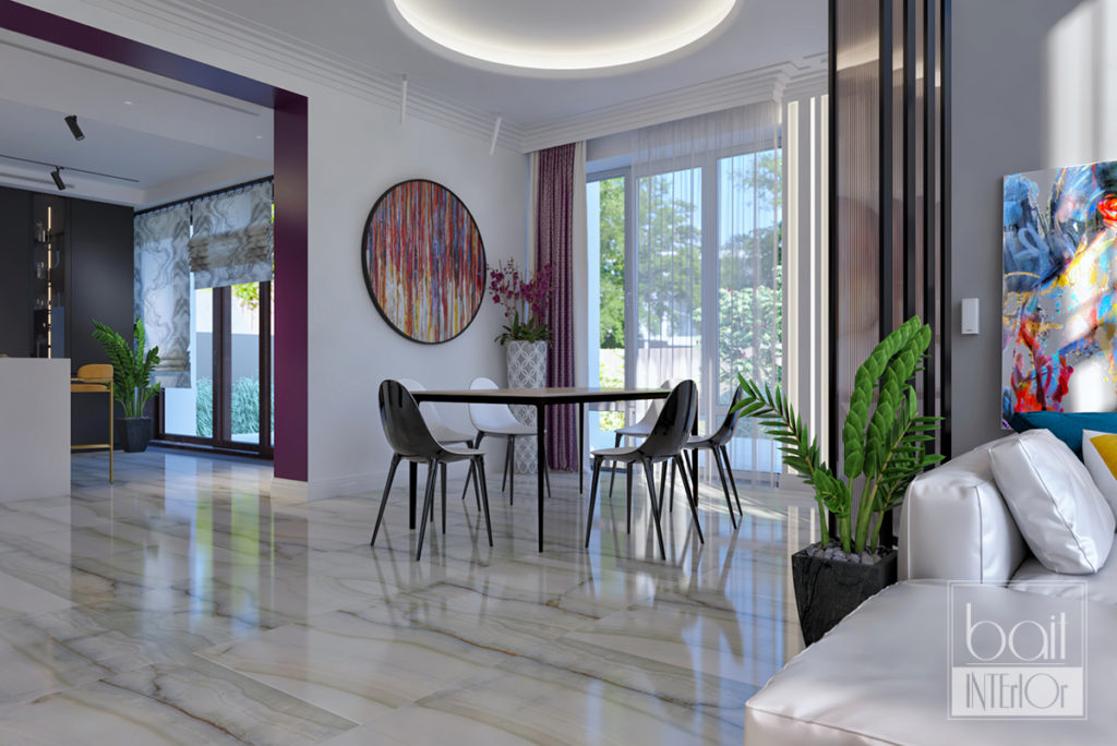интерьер столовой с панорамными окнами