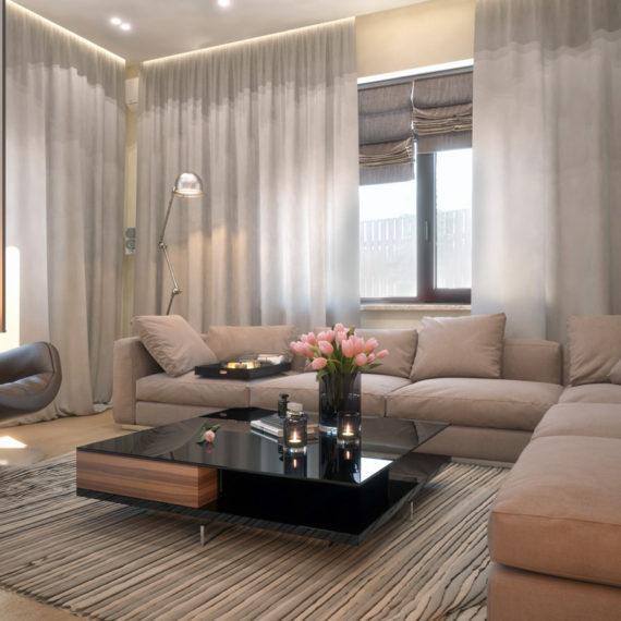 Интерьер открытой гостиной с кирпичиками