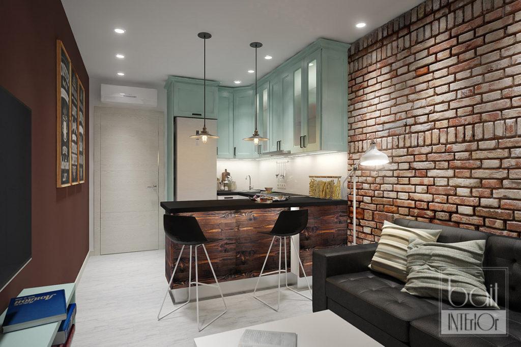 дизайн интерьера кухни в стиле лофт