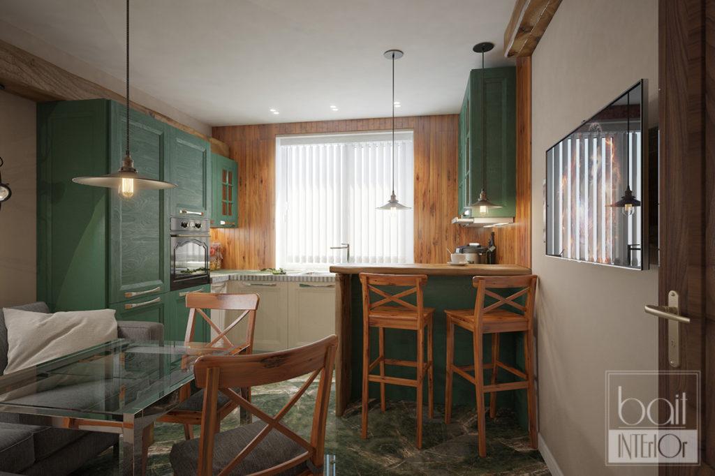 дизайн зеленой кухни в стиле лофт