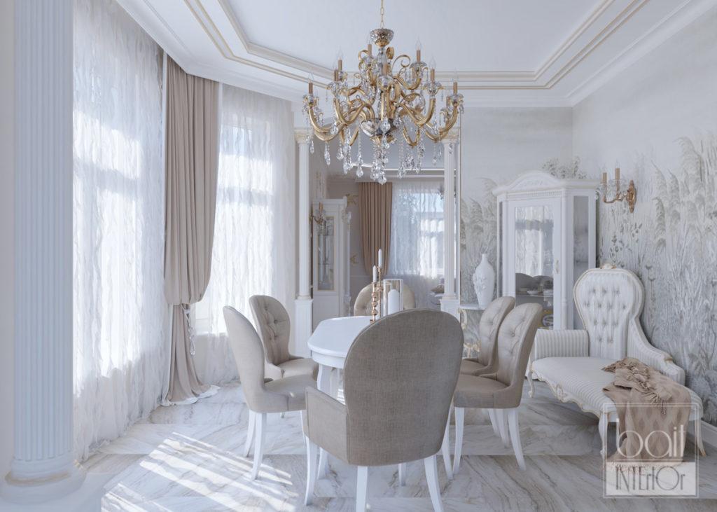 дизайн интерьера столовой в классическом стиле