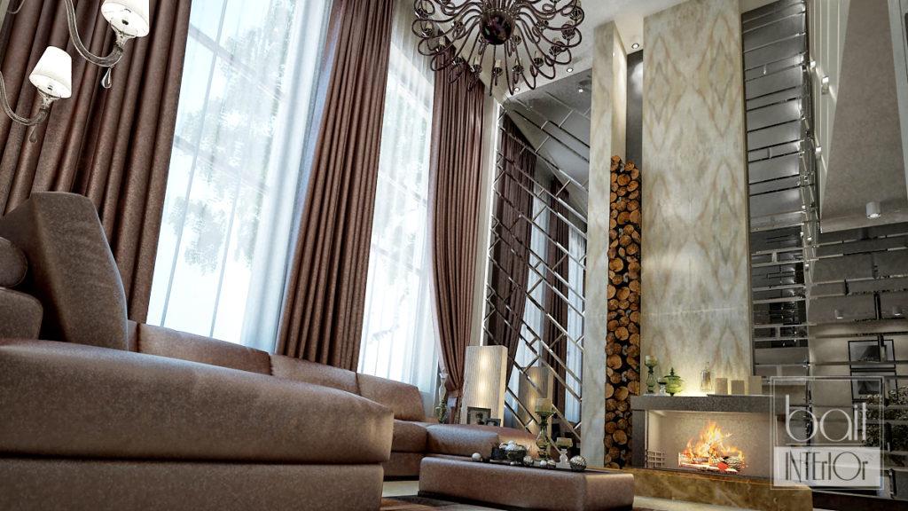 дизайн интерьера двухуровневой гостиной с камином