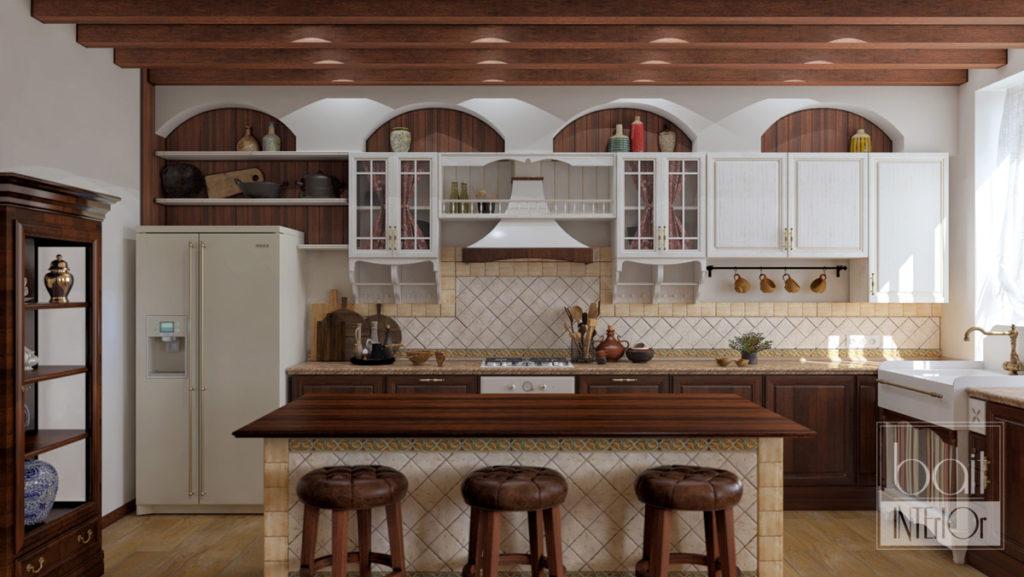 дизайн интерьера кухни в стиле американского кантри