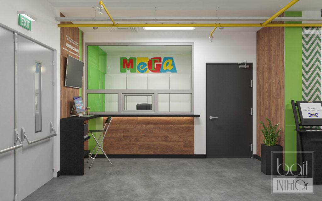 Дизайн интерьера зоны зоны для арендаторов Икея - Мега